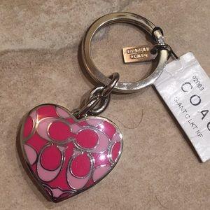 NWT COACH Heart Photo Frame Keychain Key FOB